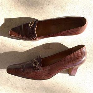 Salvatore Ferragamo Leather Slip-on Kitten Heels